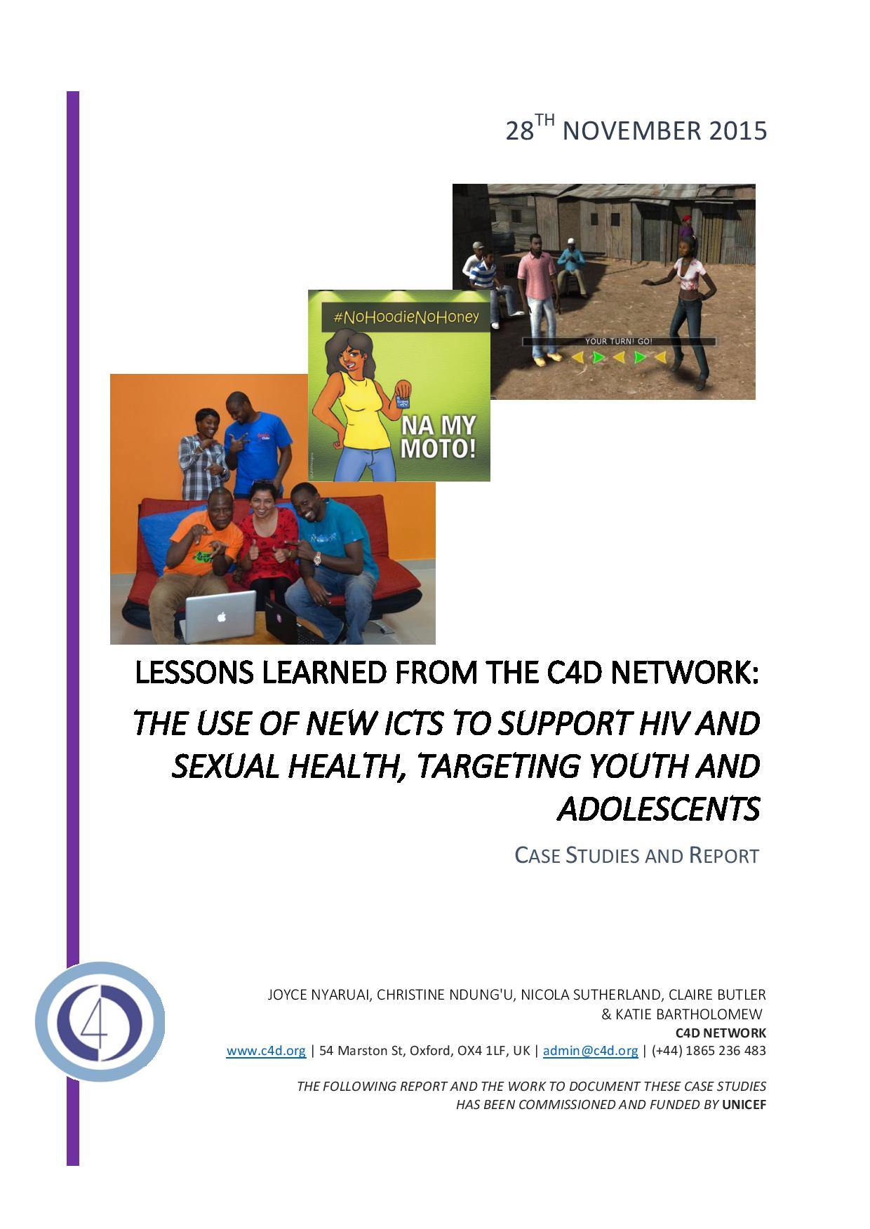 Cover_C4D Network – REPORT & CASE STUDIES on ICT for HIV Prevention 28.11.15-page-001